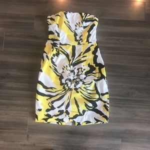 Express floral print strapless dress